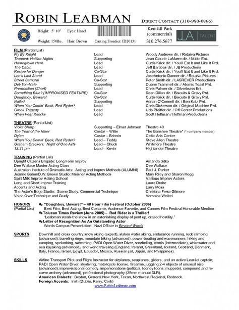 Acting Resume Template Download Free - http\/\/wwwresumecareer - how to make a dance resume