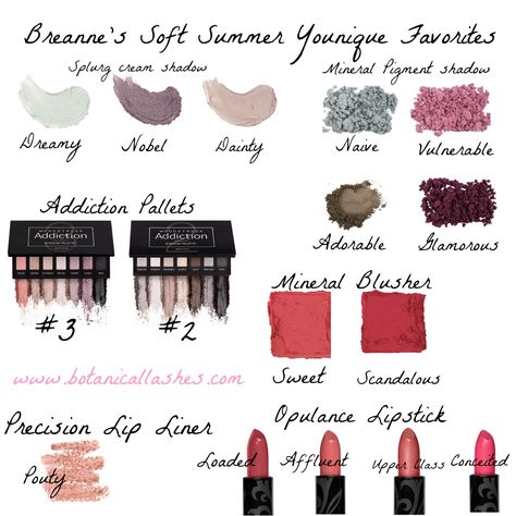 My favorite Soft Summer swatched and worn Soft Summer makeup by Younique!  Send me a PM if you have an questions or you can order direct from my website below!