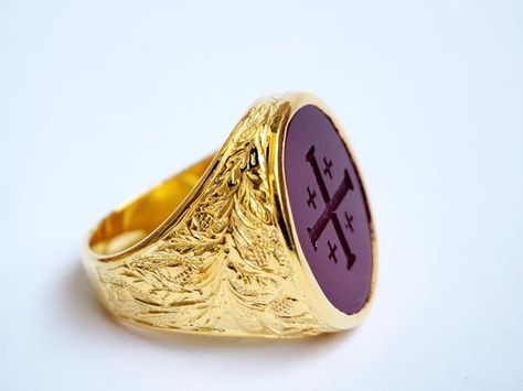 Jerusalem Cross Ring Red Agate Intaglio Engraved Heraldic Gold Plated Sterling Silver 925 With Images Cross Ring Sterling Silver Jewelry Red Agate