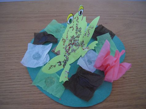"""Frog on Lily Pad Craft @ Los Altos Library. Preschooler's mixed glitter and glue in Dixie cups then used their """"magic glue wand"""" (Q-Tip) to make their frog shimmer in the sunlight. """"Just a dot-not a lot"""" technique used to place spots of glue and flat tissue squares were pressed on their lily pads. Silly Eye stickers were peeled and attached to Die Cut frog."""