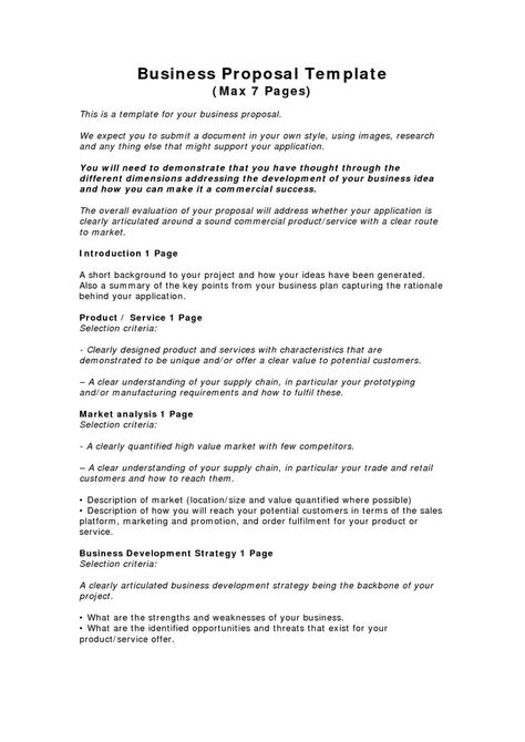 Printable Sample Business Proposal Template Form Free Legal - market analysis template
