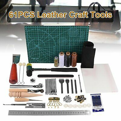 61Pcs Leather Craft Tools Kit Hand Sewing Stitching Punch Carving Saddle Groover