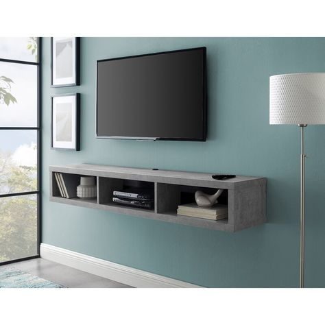 Orren Ellis Maughan Floating TV Stand for TVs up to 65 inches Color: Stone Gray Bedroom Tv Wall, Floating Tv Stand, Wall Decor Bedroom, Living Room Tv, Living Decor, Floating Shelf Under Tv, Mounted Tv Ideas Bedroom, Tv In Bedroom, Tv Stand Decor