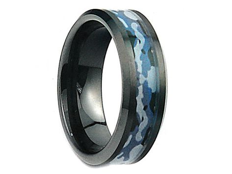 bd8aa04dc0 Personalized Engraved Black Ceramic Wedding Band Ring Blue Forest Army  Military Camouflage Inlay 8mm(Free Laser Engraving)
