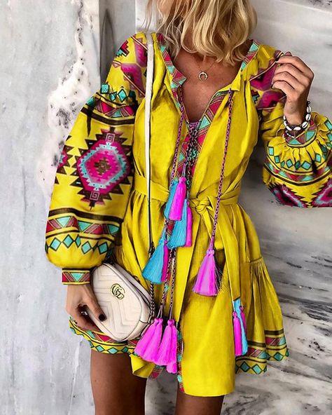 Ethnic Printed Lantern Sleeve Casual Dress