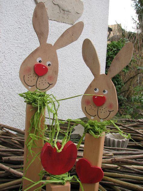 Osterdeko Osternhase Ostern Holz Hasen Blume Herz Vintage Ein