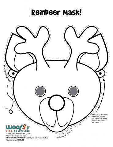 Christmas Printable Masks To Color Iarnă și Măști