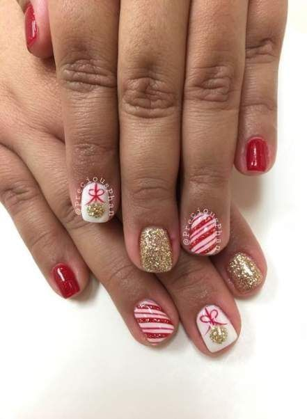 Get Inspired For Nails Design Christmas Pink In 2020 Candy Cane Nails Christmas Nail Designs Kids Nail Designs