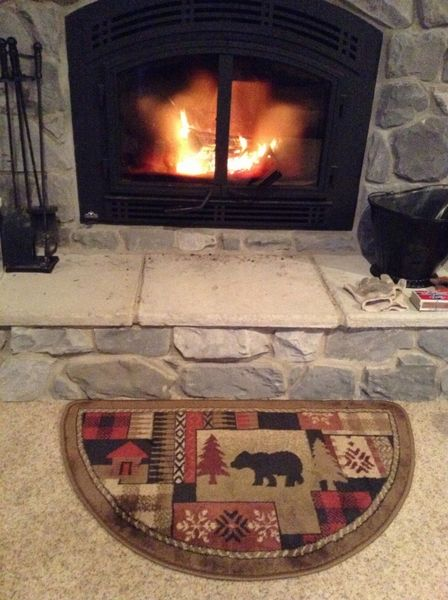 Goods Of The Woods Oriental Half Round Olefin Hearth Rug With Bear Pattern 25 Inch X 42 Inch Hearth Rug Fireplace Accessories Fireplace Rugs