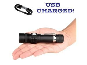 USB Rechargeable Flashlight T6 Led Flashlight Zoomable 3 modes torch for 18650
