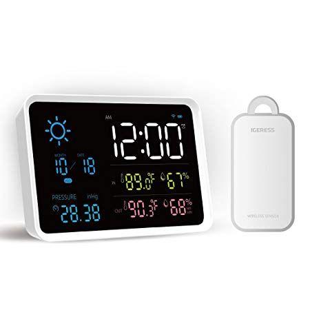Weather Station Indoor /& Outdoor 2 Wireless Sensors Barometer Weather Forecast