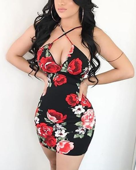 Red Roses Print Criss Cross Neck Strappy Dress 2019