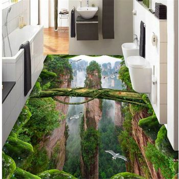 Beibehang Personality Self Adhesive Papel De Parede Wallpaper Forest Valley Three Dimensional Bathroom Kitchen 3d Floo 3d Flooring Floor Wallpaper Floor Murals