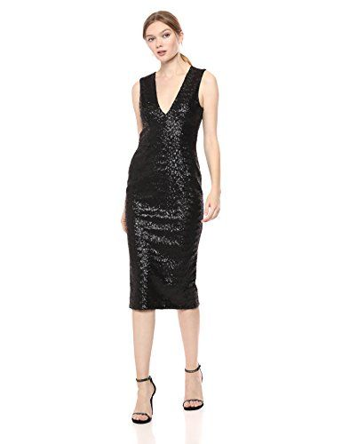 Dress the Population Womens Rani Plunging Sequin Fitted Midi Sleeveless Sheath Dress