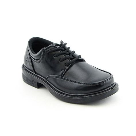 Toddler//Little Kid//Big Kid Audaz Boys Black Leather Shoes School Uniform with Velcro