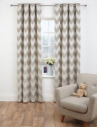 Neutral Chevron Jacquard Eyelet Curtains | M&S
