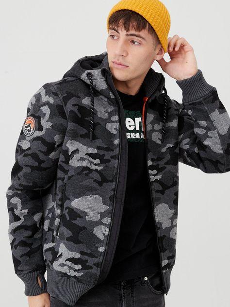 Superdry Bonded Knit Zipped Hoodie Grey Camo | Grey hoodie