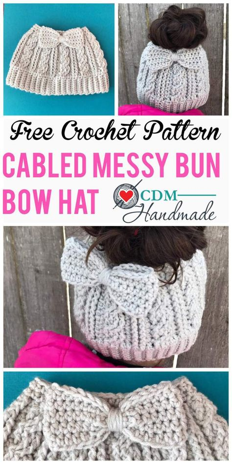 Crochet scarves 88594317657277987 - Cabled Messy Bun Bow Hat – a FREE Crochet Pattern – CDM Handmade Source by mommykab Crochet Simple, Easy Crochet Hat, Bonnet Crochet, Crochet Crafts, Crocheted Hats, Crochet Gloves, Crochet Messy Bun Hats, Headband Crochet, Crotchet Beanie Pattern