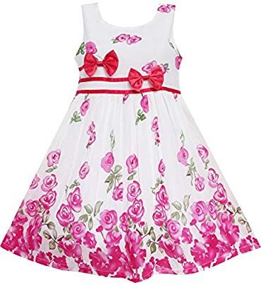 ea02626d51add Sunny Fashion Girls Dress Rose Flower Double Bow Tie Party Sundress ...