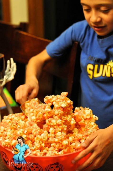 Easy and fun Jello Popcorn recipe. Perfect for a party and you can make it into any color.