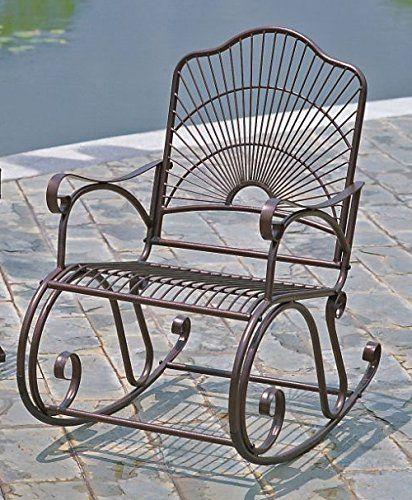 International Caravan Iron Bronze Patio Rocking Chair To View