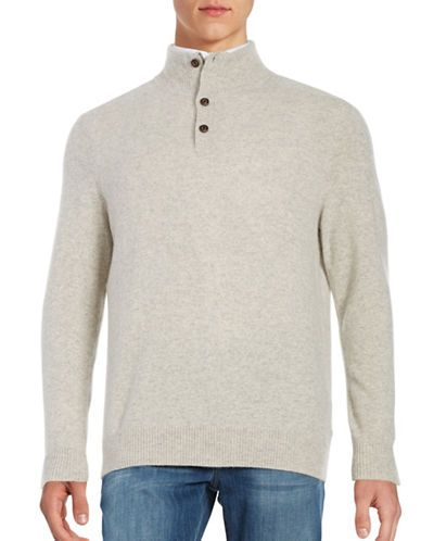 Black Brown 1826 Mockneck Cashmere Sweater Men's Pale Khaki Medium ...