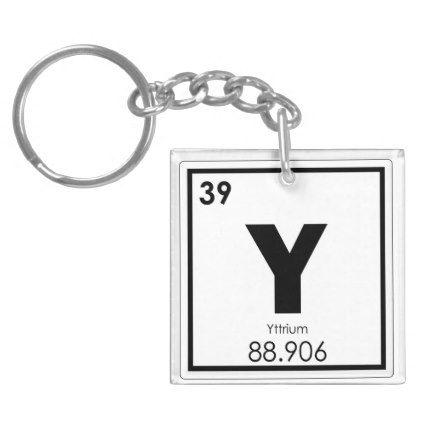 Yttrium Chemical Element Symbol Chemistry Formula Keychain