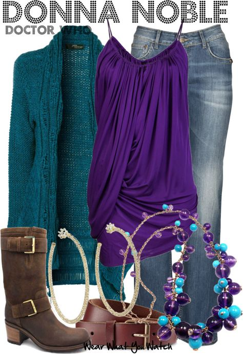 Mix jewel tones together! Donna Noble (from doctor who) inspired outfit. I don't watch Doctor Who but this is a super cute outfit regardless Doctor Who Outfits, Fandom Outfits, Donna Noble, Purple Outfits, Casual Outfits, Summer Outfits, Fandom Fashion, Nerd Fashion, Disney Fashion