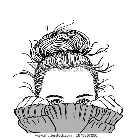 Sketch Of Portrait Of Teenage Girl With Bun Hairstyle Hiding Her Face In Grey Warm Knitted Sweater Only He Girl Hiding Face How To Draw Hair Face Illustration
