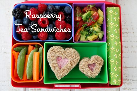 Raspberry Heart Tea Sandwiches. So sweet! #nutfree