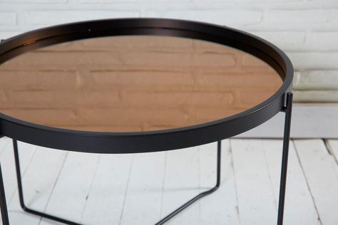 Couchtisch Rund Metall Schwarz Spiegelflache Beistelltisch 59x42cm