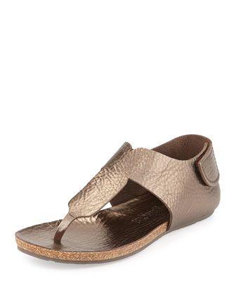 Julia Metallic Leather Ankle-Wrap Sandal Silver