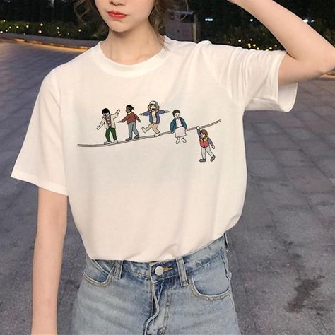 Stranger Things Harajuku Women Upside Down Ullzang Print T-shirt Graphic Fashion Eleven Top Tees Female, 21146 / L