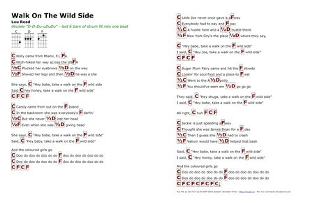 Walk On The Wild Side Lou Reed Http Myuke Ca Muziek Gitaar
