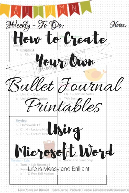 How to Create Your Own Bullet Journal Printables Using Microsoft - microsoft weekly planner