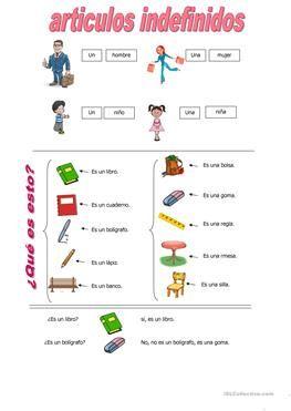 Articulos Indefinidos Artigo Definido Gramatica Atividades