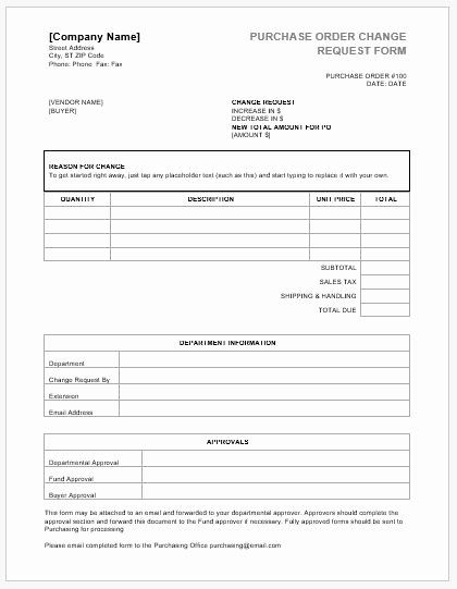 Bank Change Order Form Template Beautiful Purchase Order Change Request Forms Order Form Template Templates Job Application Form