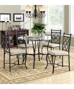 Mainstay 5 Piece Glass Top Metal Dining Set Glass Top Dining