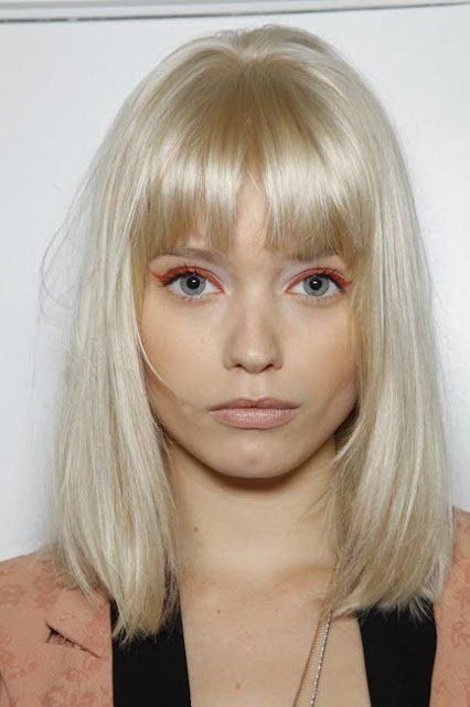 11 Neon Eye Looks That Ll Make You Break Up With Black Liner Blonde Hair With Bangs Platinum Blonde Bangs Yellow Blonde Hair