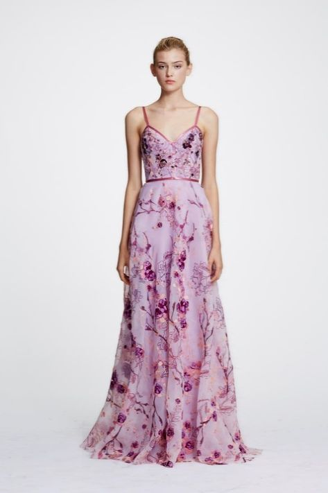 aa79aa59ed3a Marchesa Notte Sleeveless Floral Organza Evening Gown N29G0845