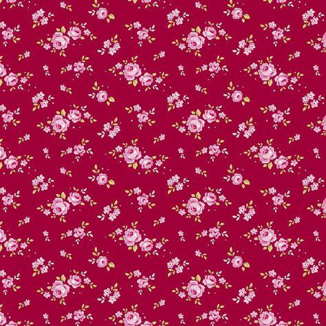 Tilda Winter Memories Fabric - Mini Rose Red per