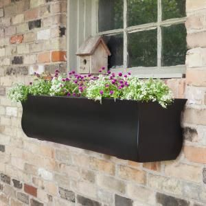 Mayne 72 In X 12 In White Plastic Self Watering Window Box 4826w The Home Depot In 2020 Window Planter Boxes Window Box Rectangular Planters