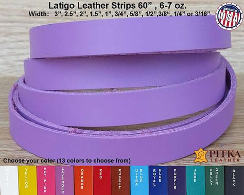 Ultra Blue, 60 Long Collars,Leather Craft 1.5 Inch Leather Straps 2.4-2.8 mm - Latigo Leather Strips Great for Belts Made in USA by Pitka Leather 6-7 oz