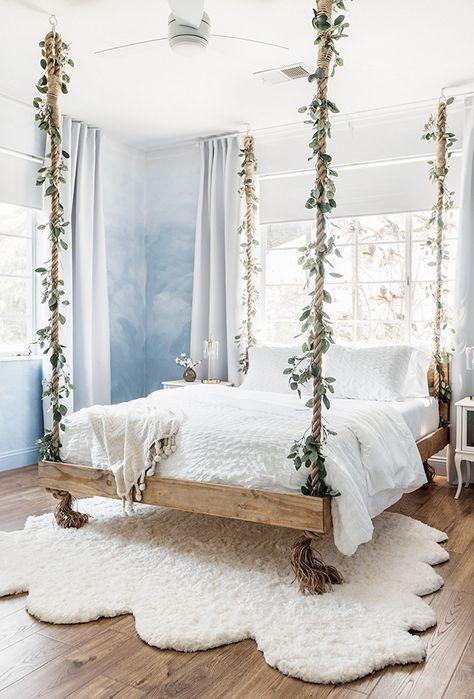 DIY Bedroom Decor Ideas with Fake Eucalyptus Hanging Bed Cute Bedroom Ideas, Girl Bedroom Designs, Pretty Bedroom, Room Ideas Bedroom, Dream Bedroom, Bed Ideas, Boho Teen Bedroom, Awesome Bedrooms, Bohemian Bedroom Design