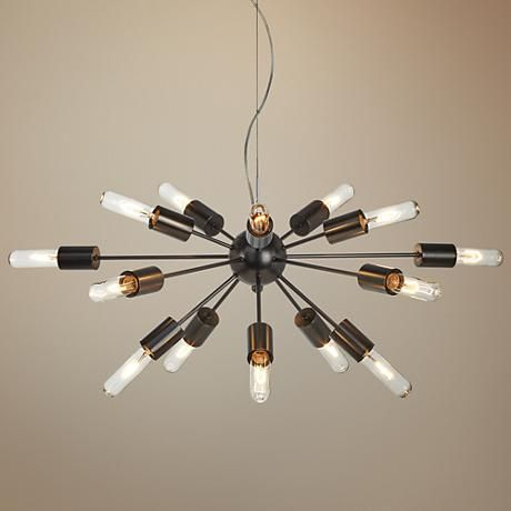 "Possini Euro Hemingson 38"" Wide Tube Bronze Pendant Light"