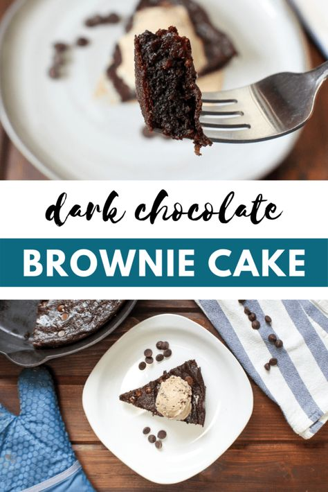 This rich and decadent dark chocolate cake is gluten-free, dairy-free, nut-free, and completely flourless! Perfect for entertaining or a weeknight treat.   frugalnutrition.com #frugalnutrition #plantaincake #flourlesscake #chocolatecake #glutenfree #paleocake