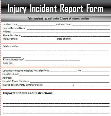Sample Incident Report Letter Word u2013 Excel Templates ExcelTemp - injury incident report form template