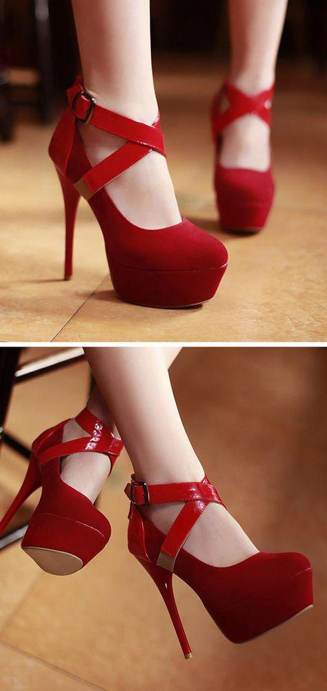 Red criss cross stiletto heels