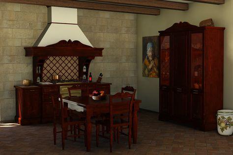 Blocco cucina, blocco dispensa frigo, tavolo e sedie.   #artigianato #legno #interiordesign #intaglio #intarsio #cucina #madeinitaly #stileclassico #arredamento #casa #italianstyle #sicilia #countrychic #stilerustico #handicrafts #wood #kitchen