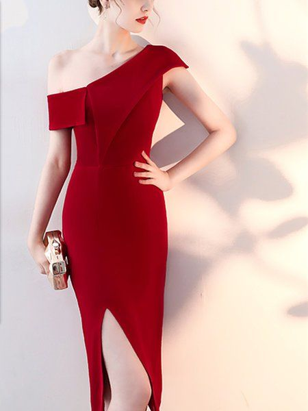 classy glamorous red cocktail dress